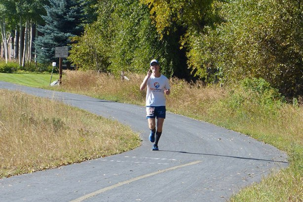 Mike Sohaskey at Mile 20 of Jackson Hole Marathon