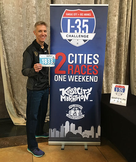 Mike Sohaskey with I-35 Challenge banner