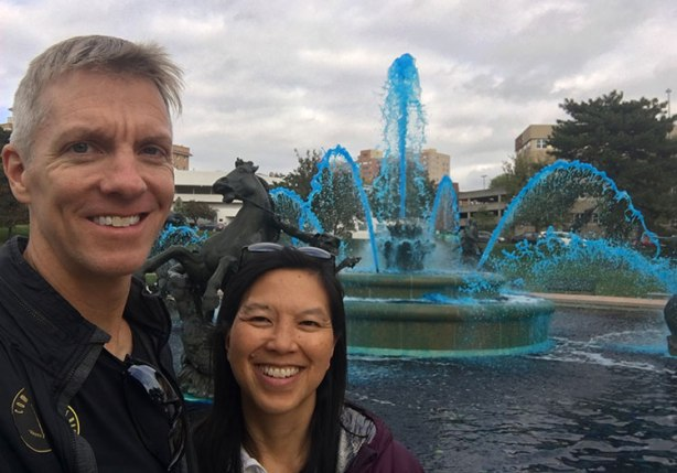 Mike Sohaskey and Katie Ho at J.C. Nichols Memorial Fountain
