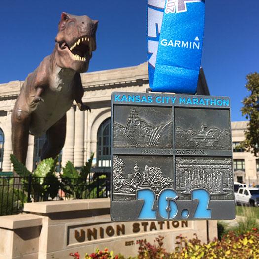 2018 Kansas City Marathon medal by Union Station