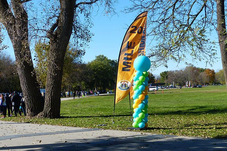 Mile 20 banner at the Des Moines Marathon