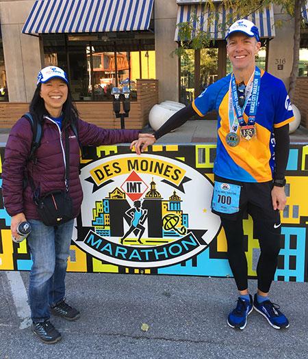 Mike Sohaskey and Katie Ho at Des Moines Marathon finish