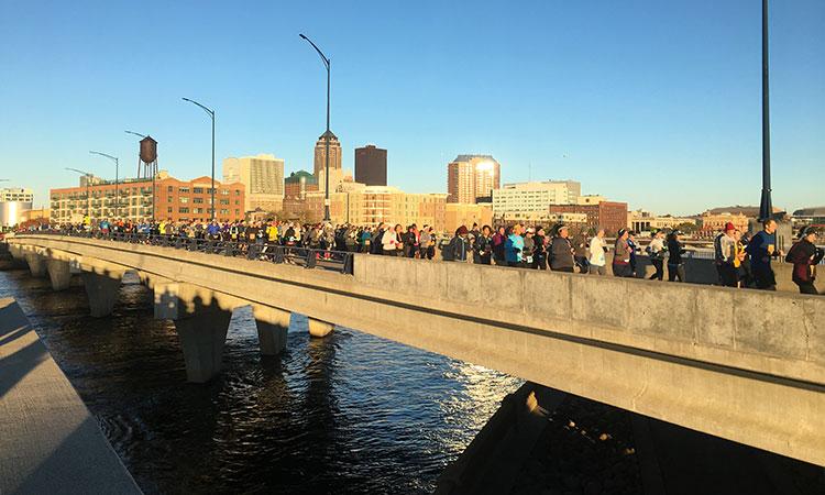 Downtown skyline seen in Mile 1 of Des Moines Marathon