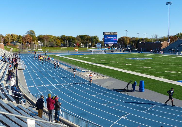 Drake Stadium in mile 12 of the Des Moines Marathon
