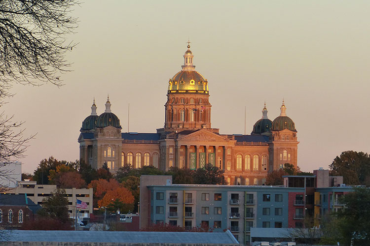 Iowa State Capitol at sunset