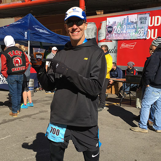 Mike Sohaskey with Sam Adams recovery drink at Des Moines Marathon