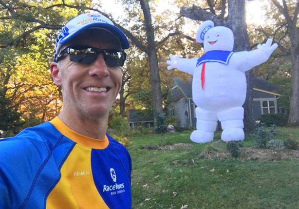 Mike Sohaskey with Stay Puft Marshmallow Man