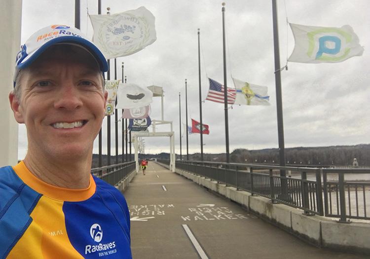 Running on Big Dam Bridge during 3 Bridges Marathon