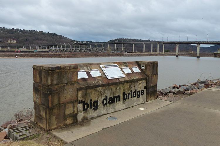 Big Dam Bridge at mile 18 of 3 Bridges Marathon