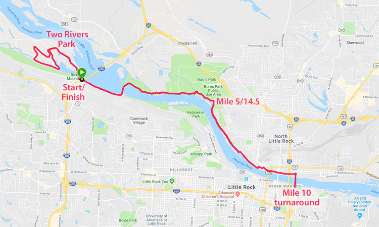 3 Bridges Marathon course map