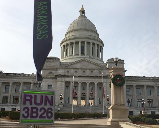 3 Bridges Marathon medal at LIttle Rock State Capitol