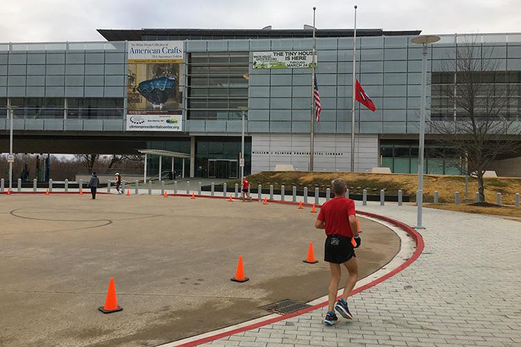 Mile 10 turnaround of 3 Bridges Marathon at the Clinton Presidential Center