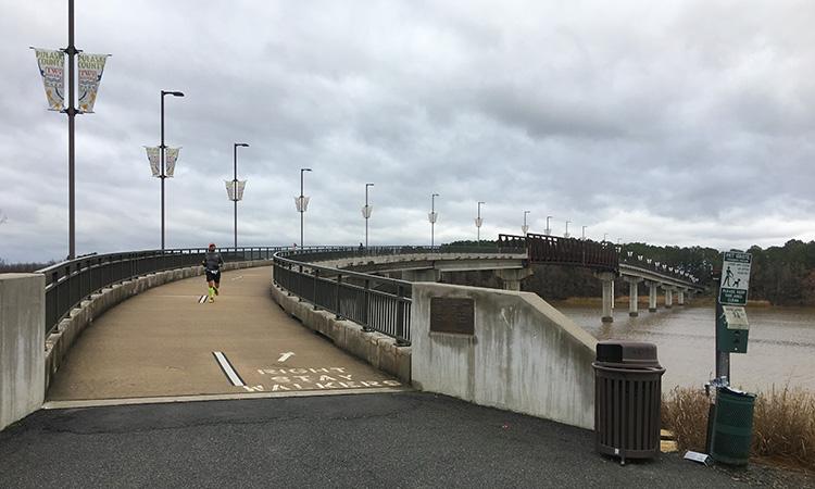 Home stretch of 3 Bridges Marathon on the Two Rivers Park Bridge