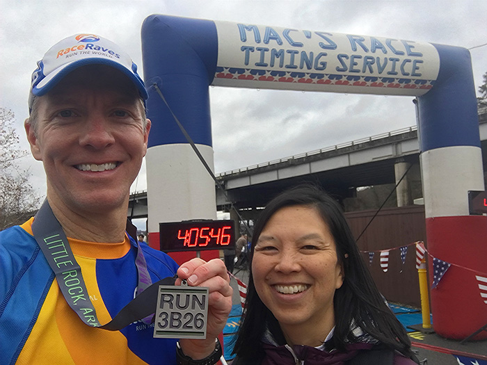 Finish line selfie at 3 Bridges Marathon