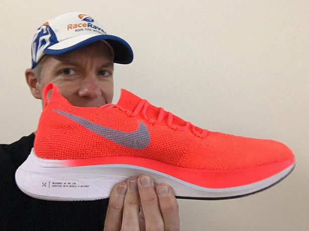 Mike Sohaskey sports the Nike Vaporfly 4% Flyknit shoe