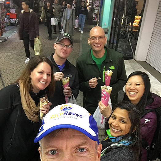 Carbo-loading on crepes before Tokyo Marathon