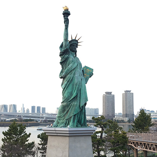 Tokyo's replica Statue of Liberty stands ~13% the height of its US counterpart
