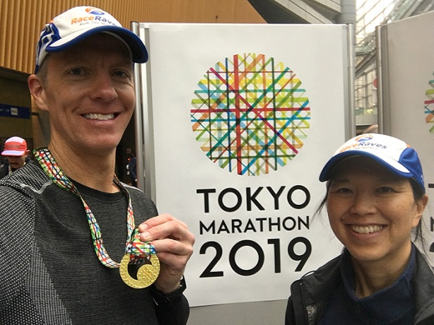 Mike Sohaskey and Katie Ho after Tokyo Marathon