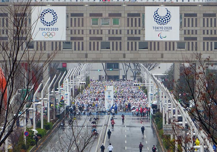 View of Tokyo Marathon start line from Hilton Tokyo