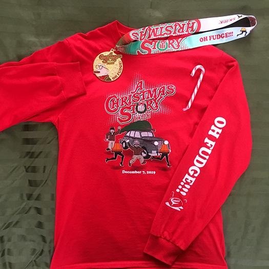 "A Christmas Story Run 2019 ""Oh Fudge"" t-shirt and medal"