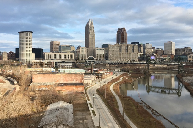 View of Downtown Cleveland from Hope Memorial Bridge in mile 6 of A Christmas Story Run