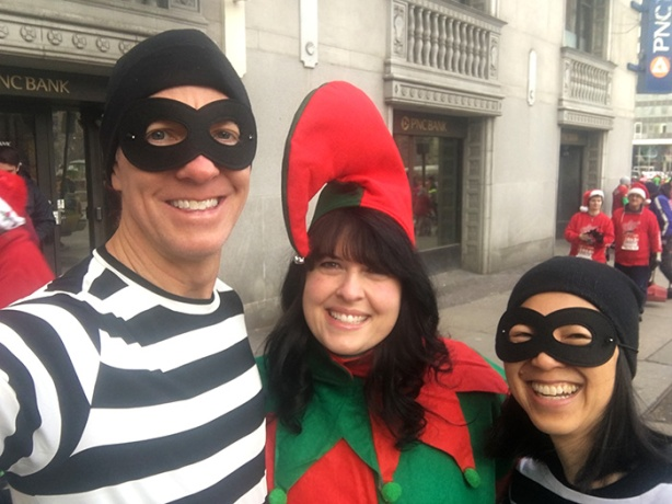Two Black Barts + one evil elf at A Christmas Story Run