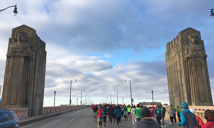 Crossing Hope Memorial Bridge in mile 1 of A Christmas Story Run