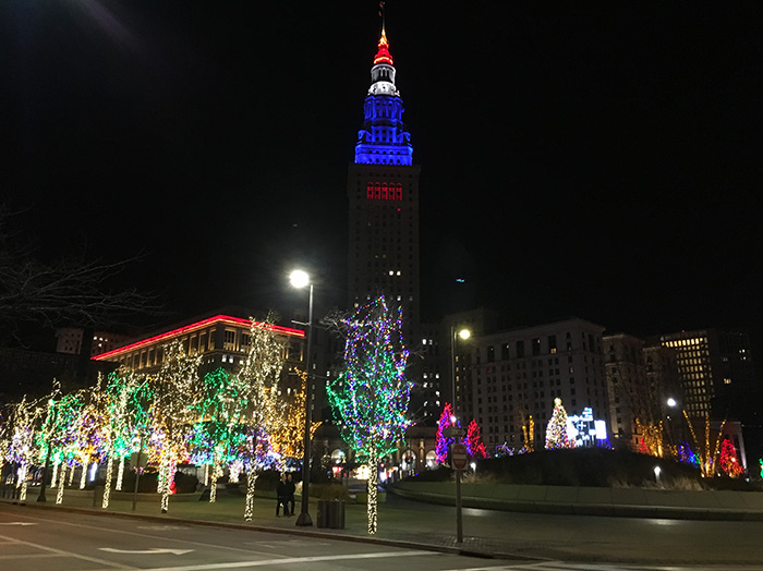 Holiday lighting in Cleveland's Public Square