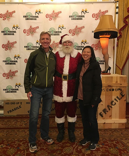 Mike Sohaskey & Katie Ho with Santa at A Christmas Story Run