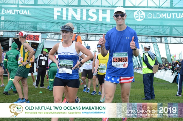 Mike Sohaskey at 2019 Two Oceans Marathon finish