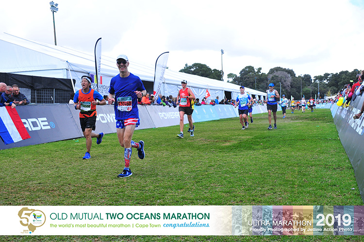 Mike Sohaskey finishing the 2019 Two Oceans Marathon