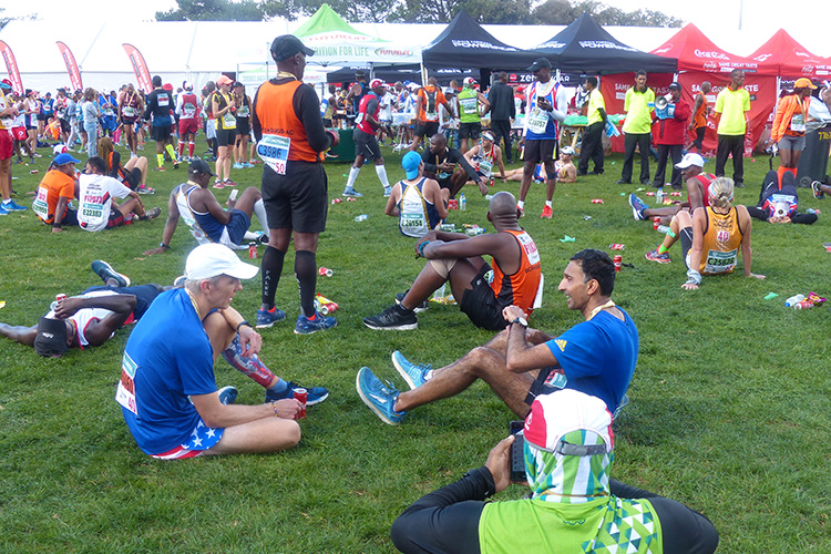 Comparing notes post-race after the Two Oceans Marathon