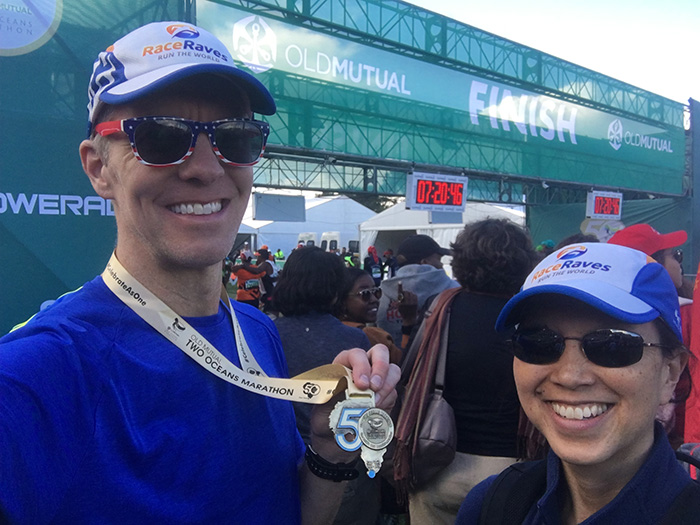 Mike & Katie's post-race finish line selfie at Two Oceans Marathon
