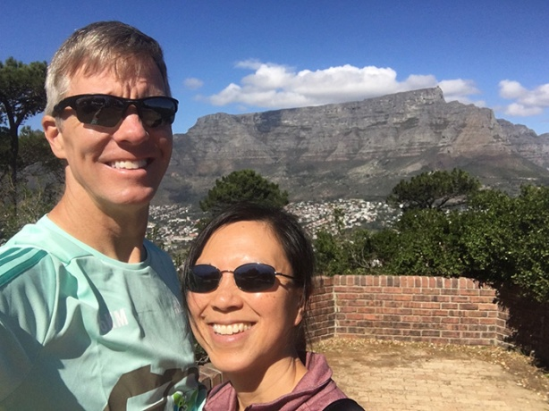 Mike Sohaskey and Katie Ho with Table Mountain backdrop