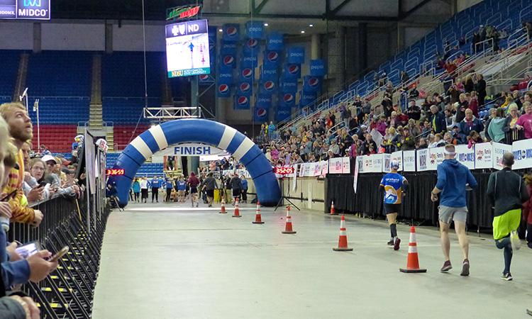 Mike Sohaskey finishing Fargo Marathon
