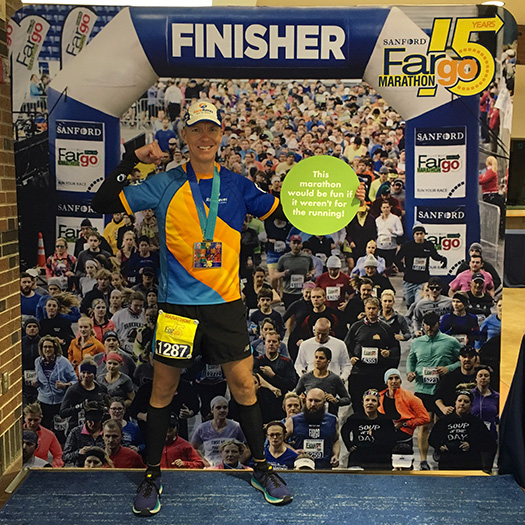 Mike Sohaskey - Fargo Marathon finisher photo op