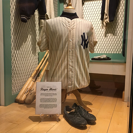 Roger Maris jersey in museum at West Acres Mall