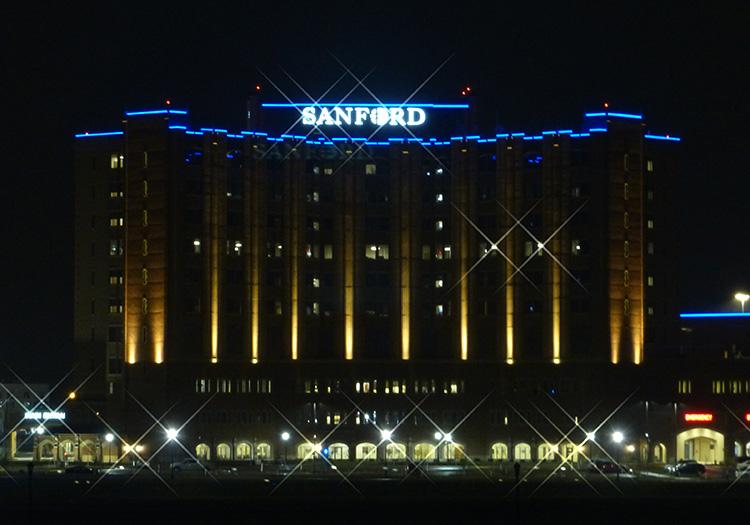 Sanford building in Fargo at night