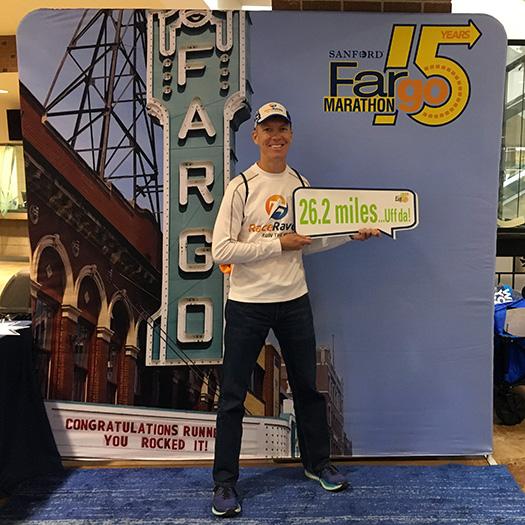Mike Sohaskey at Fargo Marathon expo photo op