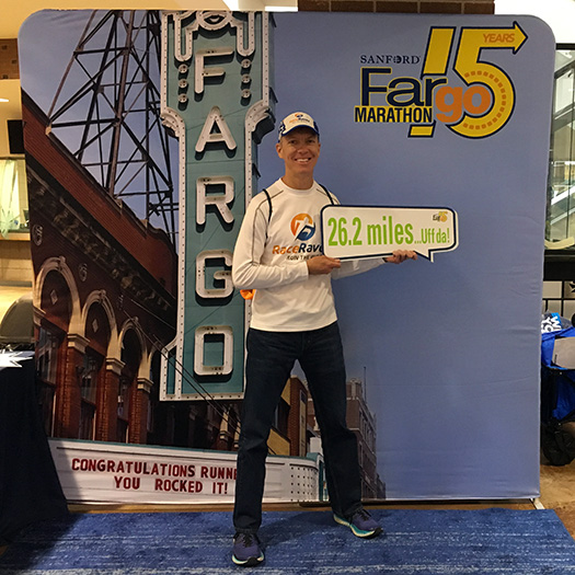 Mike Sohaskey at Fargo Marathon expo photo op