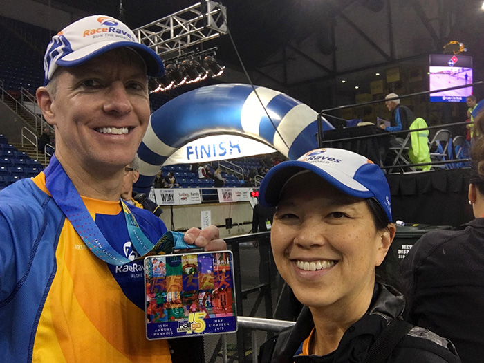 Mike Sohaskey & Katie Ho Fargo Marathon finish line selfie