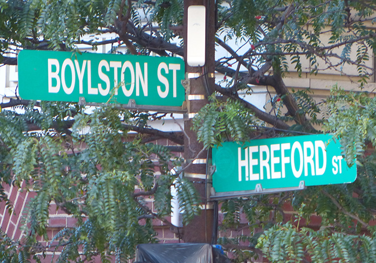 Bolyston St & Hereford St. intersection