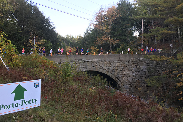 Gilsum Stone Arch Bridge in mile 1 of Clarence DeMar Marathon