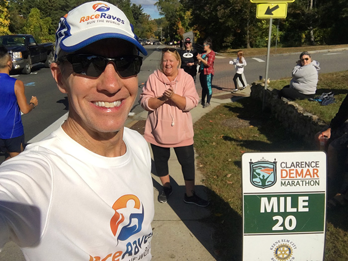 Mike Sohaskey at mile 20 of Clarence DeMar Marathon