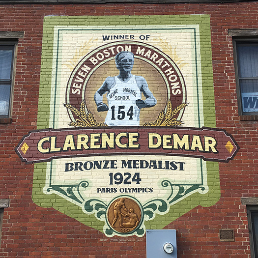 Clarence DeMar mural in Keene, NH