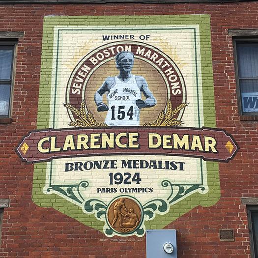Clarence DeMar mural in Keene, NH