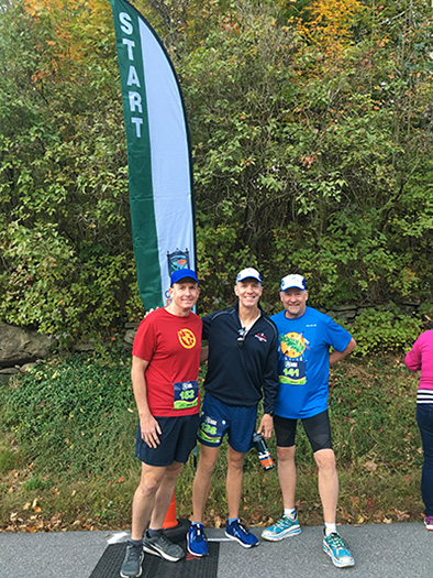 Ken S, Mike S and John P at Clarence DeMar Marathon start line
