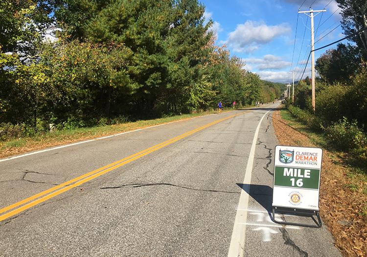 Mile 16 of the Clarence DeMar Marathon