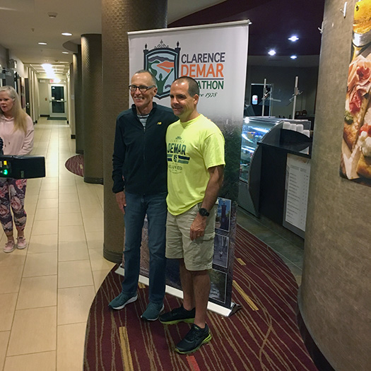 Dick Beardsley and Alan Stroshine at Clarence DeMar Marathon pre-race dinner