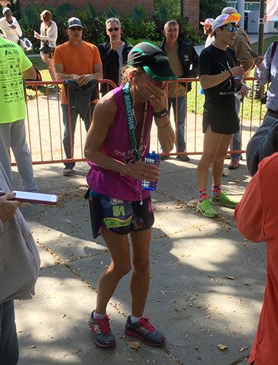 Wendy's first marathon finish at the Clarence DeMar Marathon